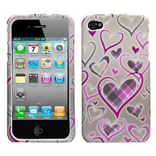 For Apple iPhone 4 4S HARD Protector Case Snap On Phone Cover Plaid Hearts