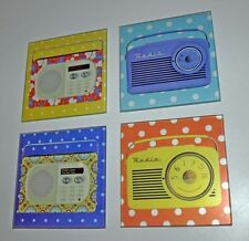 Set of 4 Coasters Retro Radio Glass Vintage Kitsch Square Kitchen Gift New