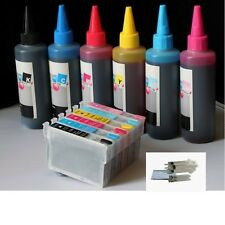 6PK Compatible Combo Refillable epson T098 T099 plus 6x100 ml ink bottles