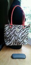 Purse Anne Klein Shoulder Tote Bag Brown Tan Pattern W/Orange Faux Leather EUC