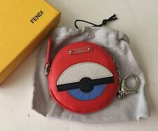 Authentic Fendi Monster Bug Round Key Ring Pouch Coin Purse Charm Case
