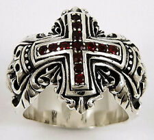MEDIEVAL RED GARNET CROSS 925 STERLING SILVER BIKER MENS RING Sz 13 NEW GOTHIC