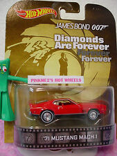 2014 Retro '71 MUSTANG MACH 1☆James Bond 007 Diamonds☆Red;Real Riders☆Hot Wheels