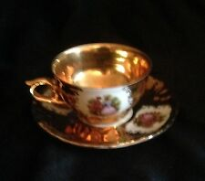 Dresden Demitasse Cup & Saucer Gilded Courting Couple Scene