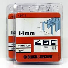 BLACK & DECKER TYPE 2 STAPLES 14MM  B&D A5918 BD418 DN418 (2 PACKS)