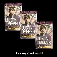 (HCW) 2010 Panini Justin Bieber Collectors Card Pack x3 Lot - 5 Card +1 Sticker