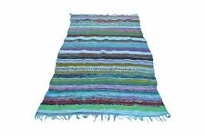 Large 4'X6 Rag Rug Indian Oriental Floor Carpet Chindi Yoga Mat Reversible Throw