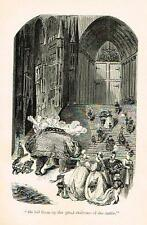"Rabelais's' Satire - ""GARGANTUA LED THEM UP THE STAIRS""- Litho by G. Dore -1880"