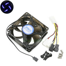 80mm x 25mm 3pin/4pin 12v 5v Blue LED Cooling Fan For PC CASE CPU GPU Heatsink