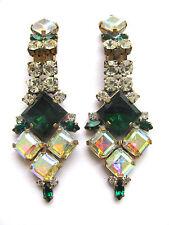 BEL VINTAGE Jewelry strass Clip Orecchini ORZO eccessivamente germinato. D u-200