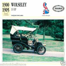 WOLSELEY 10 HP 1900 1905 CAR VOITURE GREAT BRITAIN GRANDE BRETAGNE CARD FICHE