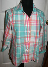 Foxcroft 3/4 Sleeve Green Pink Check Wrinkle Free Shaped Fit Blouse Shirt 8P 8 P
