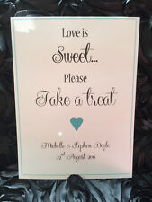 Shabby & Chic Wedding signs sweet table love is sweet A4 Personalised Hearts