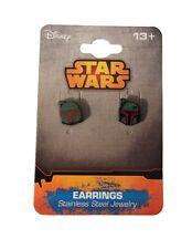 Star Wars Boba Fett Stainless Steel Stud Earrings New Licensed
