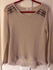 GINGER G Anthropologie Ethnic Embroidery Embellishment Sheer Knit Blouse Top M