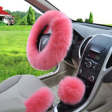 1 Set Car Steering Wheel Cover Long Plush Woolen One Fur Shifter Knob Grip KITS
