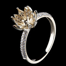 8mm Round Lady Flower Engagement Wedding Semi Mount Diamond Ring 10K Yellow Gold