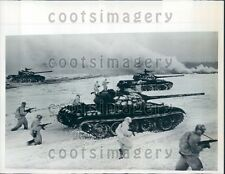 1962 Russian Army Maneuvers With Tanks in Snow Moscow Press Photo