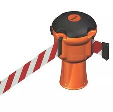 Skipper Retractable Barrier Orange with Red & White Tape 9m