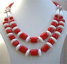 Vintage Chunky Red & White Bead Drape Necklace - 40's?