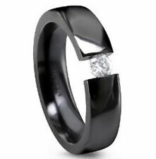 TITANIUM Black Plated TENSION Solitaire RING with ROUND CZ, size 9, in Gift  Box