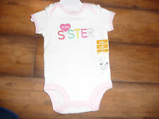 "NEW CARTER'S girls 18 months ""LITTLE SISTER"" BODYSUIT CREEPER with heart nwt"