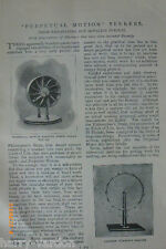Old Victorian Illustrated Article 1898 Perpetual Motion Inventions