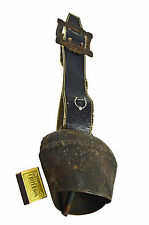 Vintage Iron Cow Bell on Leather Strap, Swiss.