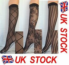 lace, black net pop socks, knee highs, trouser socks, assorted 3 pair pack