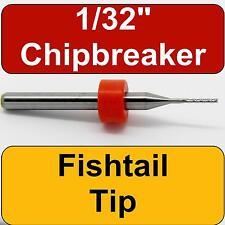 """1/32"""" Router - Carbide - Chip Breaker Flutes - Fishtail Tip Up Cut   CNC PCB N"""