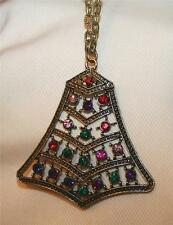 "Unique Openwork Brasstone ""Bell"" Colorful Crystal Rhinestones Pendant Necklace"