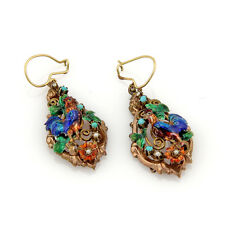 ANTIQUE 14K YELLOW GOLD TURQUOISE PEARL & ENAMEL ROOSTER DANGLE EARRINGS
