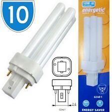 10 x 10w 2 Pin tappo CFL Lampada Fluorescente Lampadine Compatto Luce Bianca