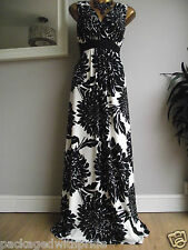 BN MONSOON WHITE BLACK CRYSANTHEMUM FLORAL BEAD MAXI STRETCH WINTER SUN DRESS 18