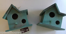2 x Wooden Shabby Chic Garden Bird House Houses  With Hanger New