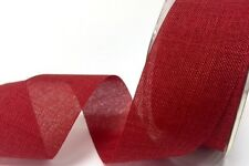 5m 38mm Red Cut-Edge Faux Burlap Ribbon bu Bertie's Bows ~ Christmas