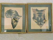 2 x Vintage Framed Sketch/Drawings of Village African Scene 33cm x38cm  N C John