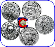 Silver Privateer, Siren, Captain & Kraken 2 oz Rounds  (4 coins w/ airtites)