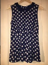 Navy And Cream Polka Dot Sheer Atmosphere At Primark Blouse Size10 Worn Once