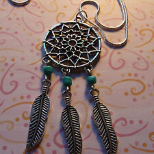 "Dream Catcher + Feathers + Turquoise Necklace 30""  White Gold Filled Snake Chain"