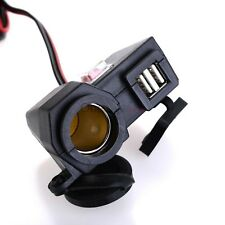 12V Cigarette Lighter Dual USB Power Port Outlet Socket Kit For Motorcycle NE$$