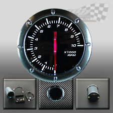 "TACHOMETER RPM 52MM / 2"" WHITE LED SMOKED FACE GAUGE FOR DASH OR POD HOLDER"