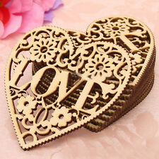 Laser Cut Unfinished Wooden Love Heart Art Crafts Plaques Wedding Rings Décor