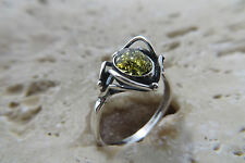 Size 7, Size N 1/2, Size 54, Green Baltic Amber Ring in Sterling Silver #1050