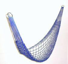 Dark Blue Hammock Mesh Net Hang Rope Travel Camp Outdoor Swing Garden Strong UK