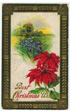 Vintage Best Christmas Wishes Poinsettia John Winsch 1910 Embossed Postcard