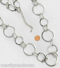 Chico's Signed Necklace Long Silver Tone Chunky Hammered Rings Oval Links Chain