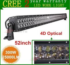 52Inch 300W CREE LED Work Light Bar 4D Optical Combo Off-road SUV ATV Jeep UTE