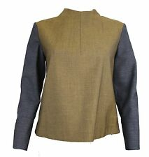 MARNI AMAZING GREEN AND GRAY STRUCTURED BLOUSE SIZE 40