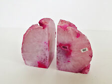 AGATE BOOKENDS GEODE DRUZY PINK 2.54kg BRAZIL CRYSTAL OOAK Drusy Natural NEW